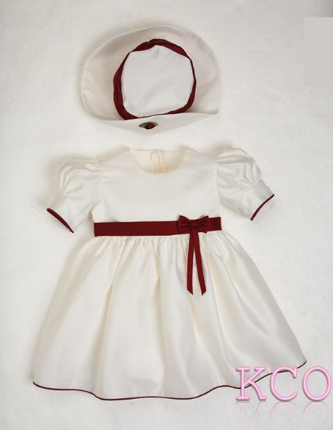 Baby Bow Dress Burgundy/Ivory ~ Baby Girls dress